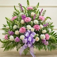 Funeral_Lavender And White Sympathy Floor Basket