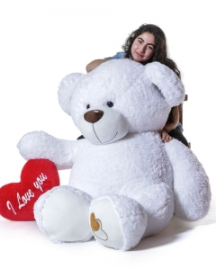 4ft white Giant teddy w/pillow