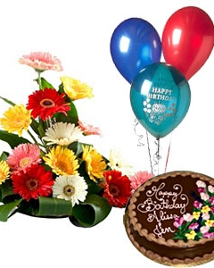 3 Balloons+ Chocolate Cake +  Mix Gerberas Basket