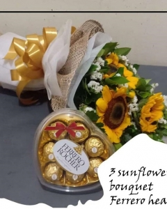 3 sunflower bouquet w/ferrero