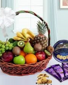 Fruit basket w/cookies& chcolates