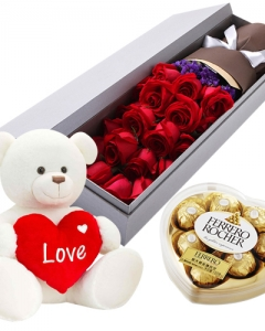 1 Dozen + Ferrero Heart + 2ft teddy +pillow