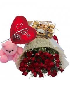 24 Red Roses,small Bear,Ferrero Rocher Chocolate with I Love U Balloon
