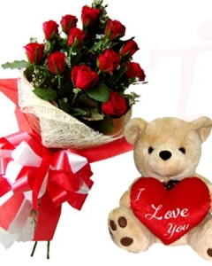 12 Red Roses w/small Bear with Pillow