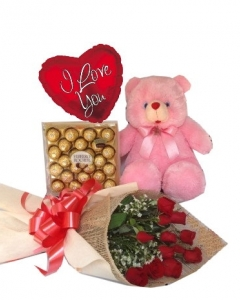 12 Red Roses+ 2ft teddy +Ferrero Rocher+ Balloon