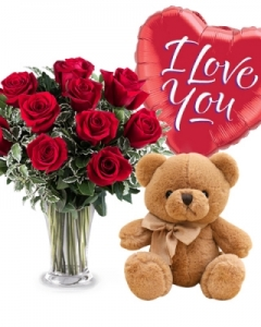 12 Red Roses with Balloon and Small Teddy Bear