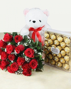24 Red Roses with 24 Ferrero Rocher & small Teddy