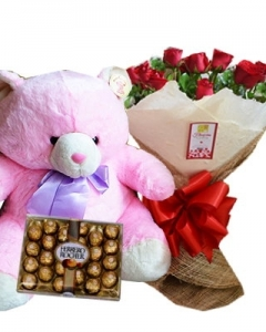 12 Red Rose w/ 2ft pink Bear & 24 Ferrero Chocolate