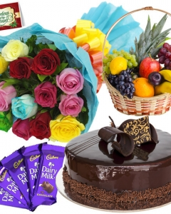 12 Mix Roses Bunch, 1/2 Kg Cake, 6 items Fruit Basket, 5 Dairy Milk + Card